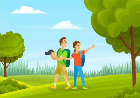 Tourists man and woman with camera in forest summer time. Family holiday, husband and wife with backpacks are hiking in green nature landscape, happy smiling people take pictures of beautiful places