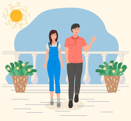 Couple walking on the sun white terrace with potted plants. Smiling young guy and girl on holidays met a wise guy and waved a greeting to him. Romantic promenade in the open air on a date summer day 矢量图像