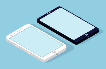Smartphone icon in flat design style on blue background. Mobile phone white and black colour with blank screen rotated position. Modern device for calls, gadget for internet usage vector illustration