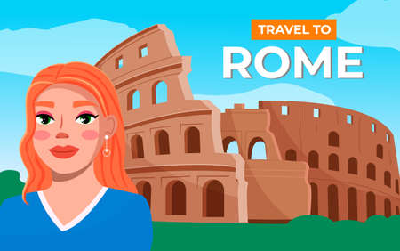 Pretty girl on the background of coliseum. Young woman travel Italy, visit architectural monuments. Happy smiling tourists female character stand near historical landmark of italy amphitheater Stock Illustratie