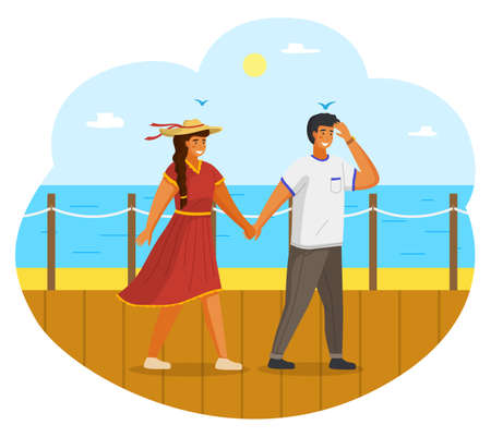 Couple walking together on the seashore. Young guy and girl wearing a light dress and a straw hat holding hands walking on the seafront sunny day. Man and woman meeting in summer vacation Vettoriali