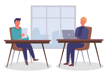 Businessmen dressed in formal clothes are sitting at the table with laptop and talking. Office workers discussing matters. Business meeting and consideration of working issues. Friendly team work