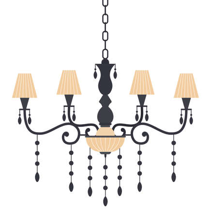 Vintage chandelier for the living room flat vector illustration. Luster decorative interior element for artificial lighting in premises. Light source is mounted to the ceiling isolated on white