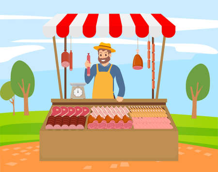 Local market farmer selling fresh meat produce on his stall with awning. The farmer sels at the farm market meat of own production chicken, sausage, bacon, ham. Meatman sels production livestock farm Vektoros illusztráció