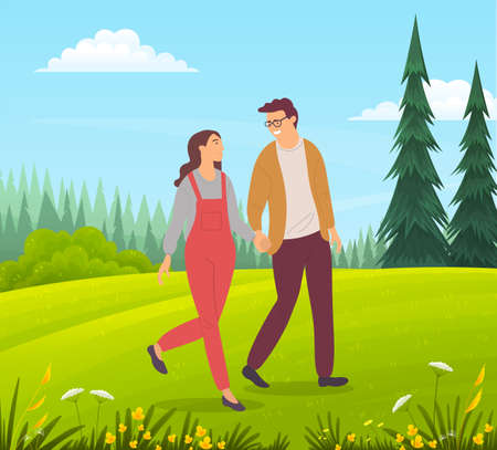 Couple walking in a forest. Young guy and girl holding hands walking in summer garden, romantic walk. Lovers man and woman met on a date outdoor. Happy promenade in the open air, active lifestyle 矢量图像