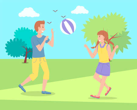 Illustration of the two children playing toy ball at the playground. The best summer child s outdoor activities. Active family weekend children s games. Kids volleyball on the grass, team ball game Иллюстрация