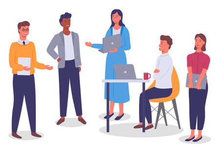 Office worker characters meeting concept. Businessman siting at the desk with computer talking to colleagues . Business people talking communicating. Discuss project, participate in business training