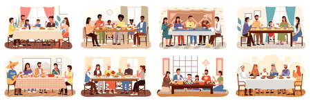 Family at festive dinner scenes set. Children, parents and grandparents eating national dishes together. Holiday dinner meal in various countries. Traditional feast of people different nationalities Vecteurs