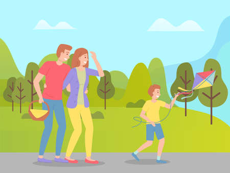 Family weekend with parents and child walking in the park cartoon vector illustration. Fun family walking, rest at nature on the vacation. Dad carries a basket of picnic products, boy launches a kite Ilustração