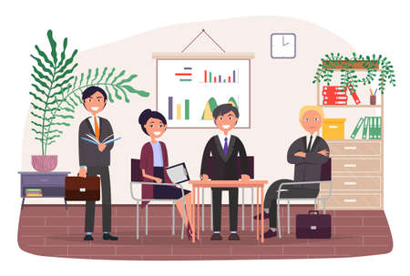 Businesspeople talking and working together in office. Staff or partners communication, successful deal. Business meeting of colleagues around table. A team smiling man and woman collaboration workers