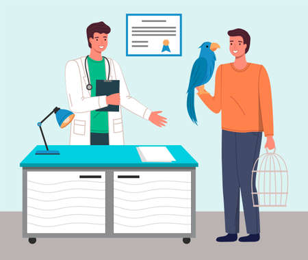 Veterinary care. Veterinarian doctor talking to man with parrot in medical office. Person brought a bird in a cage for treatment to a medic. Visit to the vet clinic to check the health of the animal