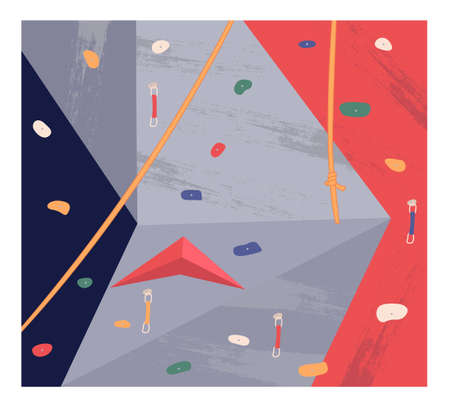 Colorful bouldering wall in a climbing gym. Active leisure and sport. Sports wall with grabs, doing bouldering. Climber crawling on steep simulated rock. Indoor rock climbing. Flat vector image