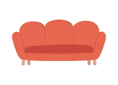 Comfortable furniture for home vector, red sofa made of fluffy material with wooden stands, decor of house comfort place for owners isolated item