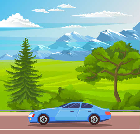 Fashionable blue modern car rides on picturesque road. Mountains, rocks, coniferous and deciduous trees, hills and fields in the background. A race car rides on a country road. Highway out of town