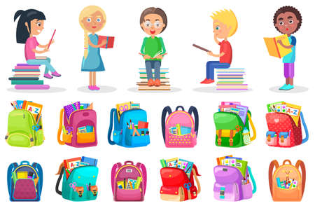 Smiling boy and girl reading book, educational object. School bag with pen and tassel, paints and notebook, pupils with textbook, student character vector. Back to school concept. Flat cartoon Ilustración de vector