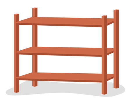 Wooden rack storage stand. Sample furniture home and warehouse interior element vector illustration isolated on white background. Empty shelves for storing various things in office or storehouse