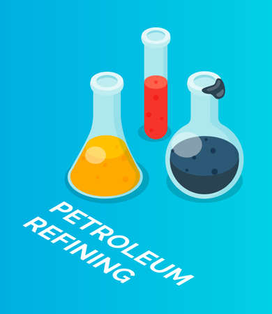 Isometric image of laboratory vessels, flasks, chemical experiments. Oil refining products, fuel, combustible materials. Chemical laboratory. Gasoline cleaning, diesel fuel. Flat vector image