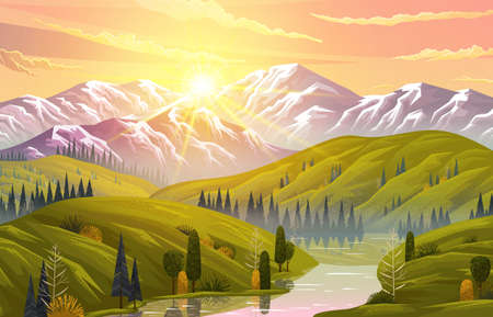 Picturesque sunrise or sunset in the mountains. Meadows, forests, conifers and deciduous trees. Mountain river, rocks, orange sky. Green hilly terrain. Mountain landscape. Flat vector illustration