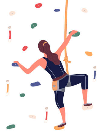 Girl is climbing in climbing room, bouldering, a woman is hanging on rope, crawling along grabs. Indoor sport activity. Sports wall with grabs, doing bouldering. Flat vector illustration on white