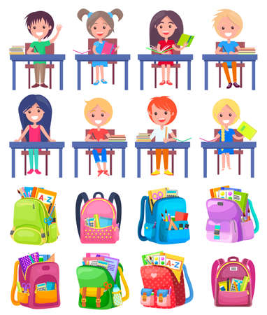 Smiling classmates sitting at desktop with notebook, backpack sticker on white. Girl and boy studying, pen and pencil in school bag, education sign vector. Back to school concept. Flat cartoon Иллюстрация