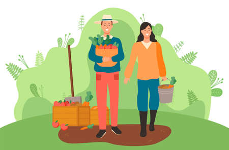 Man with hat and woman in overalls gardeners are standing with crop in their hands. Woman holds a bucket of potatoes and carrots. Man holds a basket of carrots, tomatoes. Garden tools. Flat image