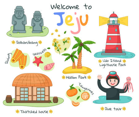 Banner with image of the main attraction of the south korean island Jeju and the inscription. Stone park and diving. Sculptures and red lighthouse. Scuba diving for tourists, nautical excursion