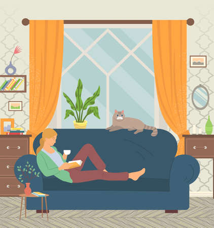 Young girl lying on sofa, drinking coffee and reading book. Cat on sitting on couch. Living room interior. Sweet and cosy home vector illustration Иллюстрация