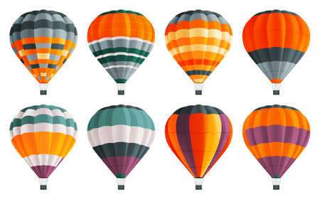 Air ballons icons set. Colorful air balloons at white background