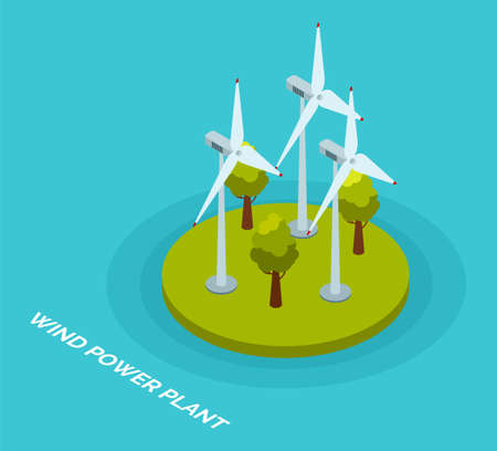 Wind power plant and factory. Wind turbines. Green energy industrial concept illustration in flat style with turbines and trees. Wind power station background. Renewable energy sources 矢量图像