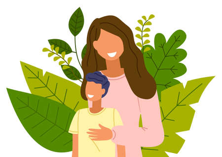 Cartoon curly woman with child, closeup. People on the background of large exotic leaves. Mom with a boy smiling, happy faces. The concept of staying home. Flat vector illustration isolated on white