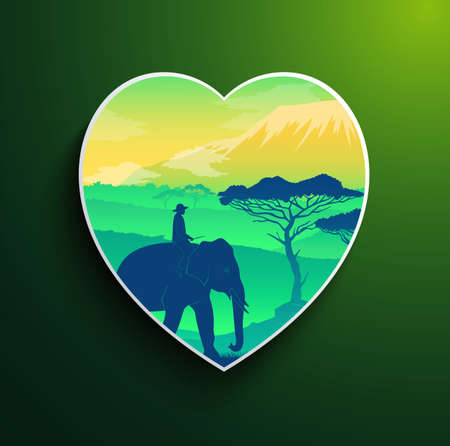 Man love traveling, riding at elephant in Africa. Heart shape at green black gradient background. Man riding at exotic animal in hot country, baobabs silhouettes at background. Vector illustration