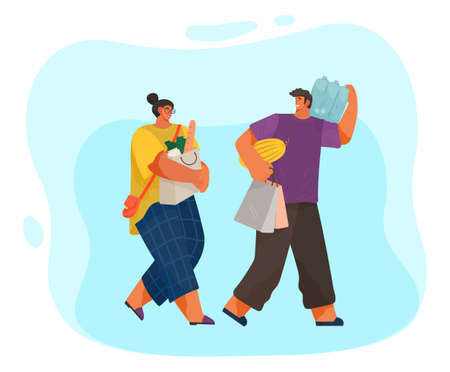 Man and woman with grocery bags on blue background. Cartoon people come back with purchases illustration food shopping. Life of a young couple, daily worries, joint shopping trip for products 矢量图像