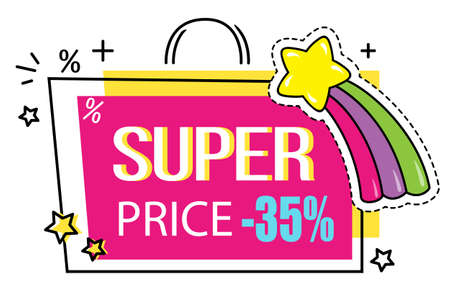 Super price. Colorful sticker like a bag with stars and rainbow. Hot sale. Discount offer. Cartoon style. 35 off. Buy with discount. Advertisement label, promo action. Price tag, good offer Иллюстрация