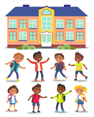 Children go to school. Illustration of a cartoon school building in a flat style. Smiling girls and boys with backpacks go to the classroom. Running, playing, cheerfully kids . Education subjects