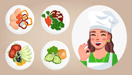 Set of cook pictures. Image of gourmet food. Young woman cook shows ok sign. Master class about cooking delicious food. Cooking online, blogging. Blogger, streamer, model. Flat vector illustartion
