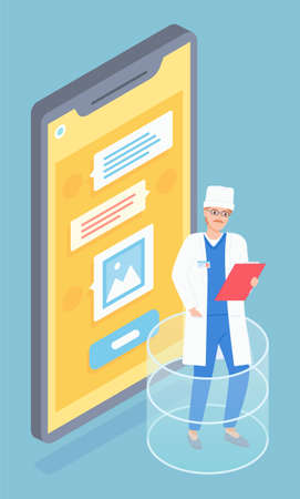 Mustachioed male doctor with clipboard, medical uniform, large cartoon screen smartphone with text messages. The therapist consults a patient online using a smartphone. Flat vector image on blue