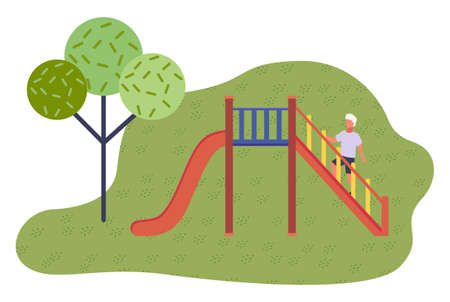 Game red slide with stairs, railing. Slide down the hill. Game children s equipment. Child climbing stairs. Green city park, trees. Children s outdoor roller coaster. Flat vector illustration