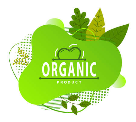 Green logo indefinite shape, ecological design. The lettering Organic product . Green juicy leaves and dots. Eco friendly design. Organic food and zero waste conception. Flat illustration isolated