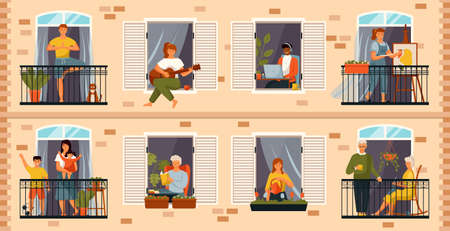 People on balcony. Neighbourhood with terraces and people doing daily activities like physical jerks, watering plants or drawing. Neighbors people and families stand near windows and on balconies Vector Illustratie