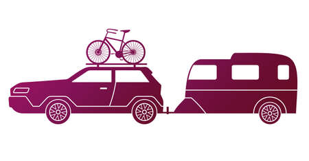 Traveling by car, caravaning tourism. Automobile with bike on the roof and travel trailer isolated on white background. Car tourism concept. Road trip around the world. Time to travel illustration