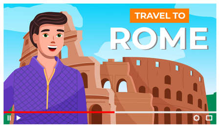Vector video player interface. Screensaver of interview of a man about Rome. Traveling blog. Reporting with a journalist or content creator standing against the backdrop of the destroyed Colosseum