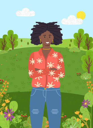 Dark-skinned confident young smiling girl with dreadlocks and gold jewelry stands with her arms crossed on her chest. Fashionable ripped jeans, bright jacket. Green city park or forest on background Illustration