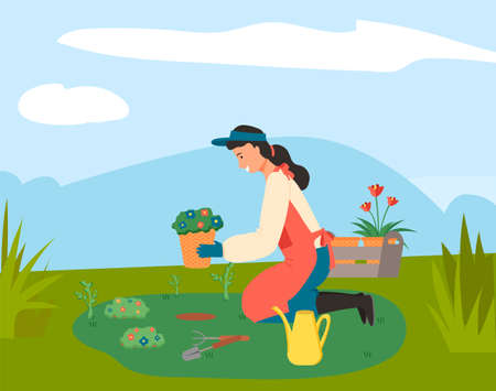 Cute gardener girl planting flowers. Illustration of ecology and environmental protection. Spring garden work. Young woman gardening plants on the backyard, sitting on a flower bed holding seedlings