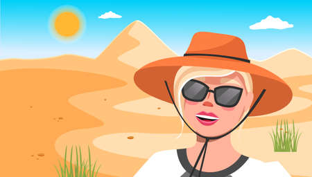 Young happy woman in hat, sunglasses against the background of a sand dune in the desert sunny day. Girl in the desert hot weather, tourist trip to a hot country . Cartoon style illustration