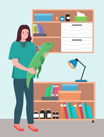 A young woman with iguana. Veterinary care flat illustration. Veterinarian wooman holding big lizard in hands in the medical office. Visit to the vet clinic to check the health of the animal reptile