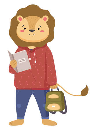A smart lion schoolboy holding exercise book and backpack standing full length isolated on white background. Funny cartoon animal student. Elementary school education concept, primary school year