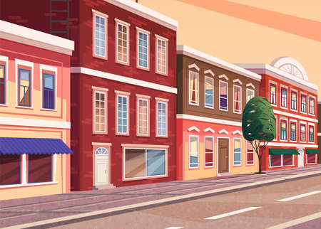 Street of town cartoon illustration of the historic city area. Cityscape with vintage brick buildings with shop windows and commercial premises on the ground floor, narrow road and pedestrian walkway