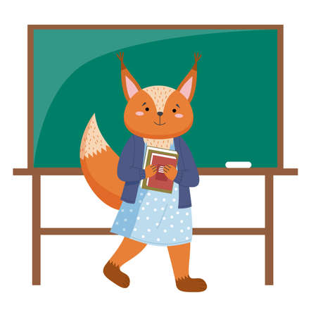 Funny cartoon animal student. A squirrel schoolgirl with stack of books in hands in the class. Smart active pupil standing near school board. Back to school, education theme flat vector illustration