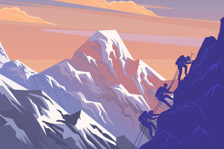 Climbing on mountain. Silhouette traveling people. Vector illustration hiking and climbing team. Squad of three mountaineer alpinists with backpacks climb the slope of the mountain with a taut rope