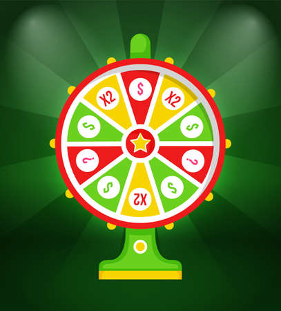 Wheel of fortune with winning sign and multi-colored sectors, flat illustration on green background. Game fortune wheel concept. Casino and gambling. Illustration of casino fortune, wheel winner game